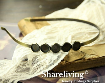2pcs Brass / Silver Head Band With 12mm Cameo Setting For Hair Accessories