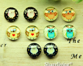 10pcs 12mm Mixed Handmade Photo Glass Cabochon / Wooden Cabochon  -- MCH012Q