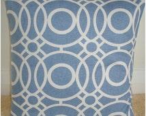 "Blue 16x16 Pillow Cover 16"" Modern Cushion Case Sham Slip Pillowcase New Circles Pattern Contemporary Design China Denim Blue Ivory Cream"