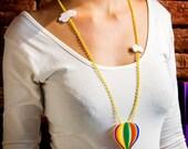 Hot Air Baloon Necklace,Plexiglass Necklace,Lasercut Acrylic