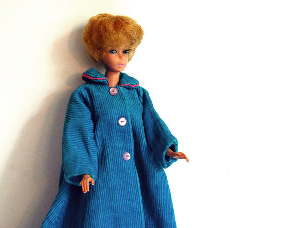 vintage 1960s doll clothes handmade corduroy robe
