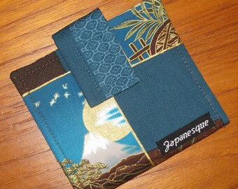 Credit, Gift, Store Card Wallet Japanese Asian Fabric Patchwork Look Design
