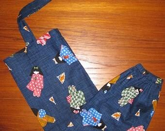 Grocery Store Plastic Bag Dispenser Asian Japanese Fabric Kimono Girls Design