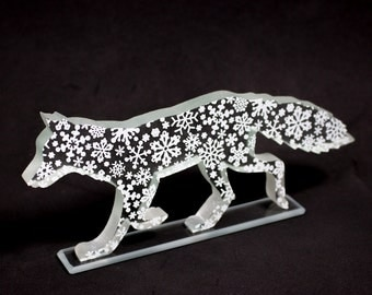 Snow Fox Glass Sculpture