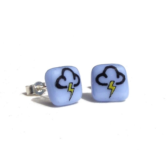 CIJ Lightning Glass Earring Studs Sterling Silver 925 Enamel Custom ChristmasinJuly Discount