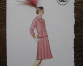 1963 Coco Chanel suit worn by Coco Chanel fashion illustration note card