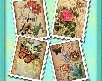 Postage Stamp Effect- ViNtAgE Floral Altered ArT Mini Tags/Labels -Printable Collage Sheet JPG Digital File-New Lower Price