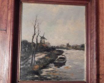 Windmill Oil Painting - Nice Deep Walnut Frame