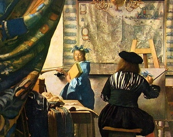 Fine Art Print - Vermeer - The Artist in his Studio - Masterpiece Painting - Reproduction Print - 12 x 10