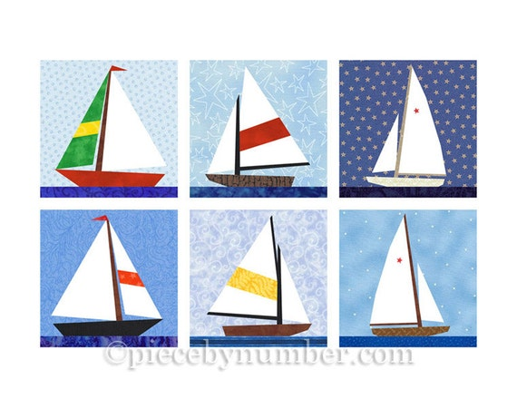 Sailboat quilt blocks, paper pieced quilt pattern, instant download, boat pattern, nautical decor, baby boy quilt, easy quilt pattern