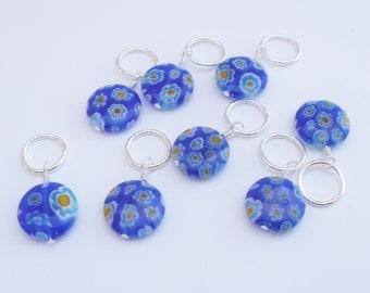 Millefiori Knitting Stitch Markers, Set of 8 - Blue Flowers