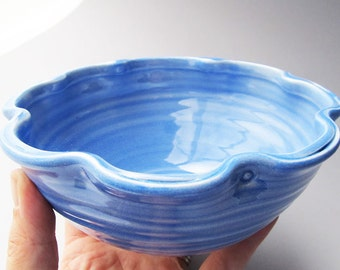Ruffle Bowl in Ocean Light Blue