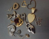 Heart Metal Charms Earrings Vintage Avon Jewelry Parts Assortment Art Craft Supply Mix