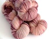 Hand Dyed Worsted Yarn - Persephone - Superwash Merino 218 Yards - Pomegranate and Pink
