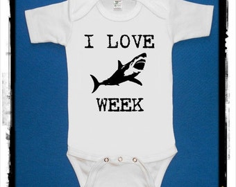 I LOVE SHARK week baby one piece creeper bodysuit  screenprint Choose Size