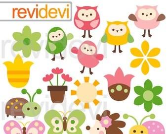 Cute owl flower clipart / Happy backyard critters / pink, green, yellow/ owls, flowers
