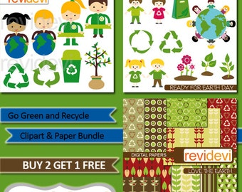 Recycle clipart, go green clip art, digital papers, clipart bundle sale / recycle icon, plant, the earth, kids, digital images