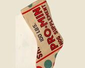 Vintage Pro-Min Feedsack Christmas Stocking