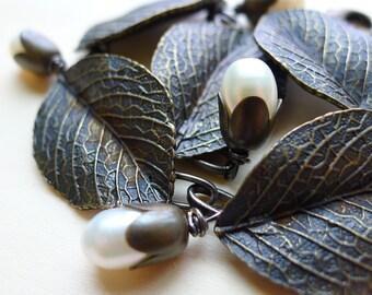 Leaves and Pearl Bracelet, Earrings Set