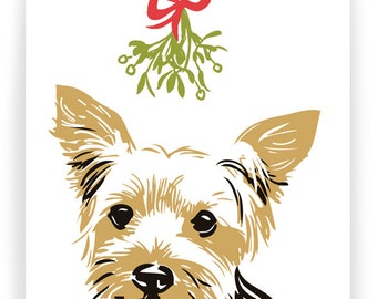 BOXHOL19: Yorkshire Terrier with Mistletoe - Boxed Set of 8 Holiday Cards