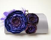 Gray & Purple Feather Clutch - Bridal Clutch - Bridesmaid Clutch - Purple Violet Eggplant Plum Royal Flowers - Purple Feathers - Medium Size