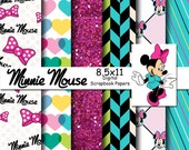 Disney Minnie Mouse Inspired 8.5x11 A4 Digital Scrapbook Paper Backgrounds -INSTANT DOWNLOAD -
