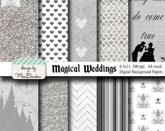 Disney Wedding Themed 8.5x11 A4 Digital Paper Backgrounds for Digital Scrapbooking -INSTANT DOWNLOAD -