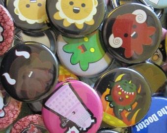 Random Geeky Gamer Fandom Cute Pinback Button -  Set of Three