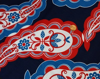 Vintage 1960s Flower Power Pennsylvania Dutch Big Paisley  White and Navy Blue Cotton Falling Prices for Fall Sale 1 YARD