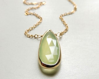 Rialta Necklace with Lime Chalcedony Bezel Set in Gold with Gold Filled Chain Handmade Jewelry
