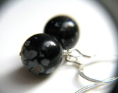 Snowflake Obsidian Earrings . Black Dangle Earrings . Simple Jewelry . Bubble Earrings - Frost Moon Collection