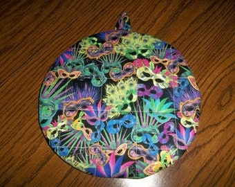 Marti Gras Mask Hot Pad or Pot Holder Cotton Fabric 9 Inches trivet insulated
