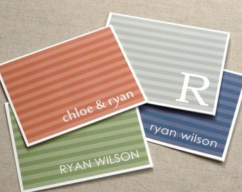 personalized stationery set - personalized stationary set - note cards - thank you notes - couple stationary  - chambray stripes