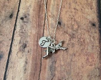 Grasshopper initial necklace - grasshopper jewelry, insect necklace, cricket jewelry, bug necklace, silver grasshopper necklace, bug jewelry