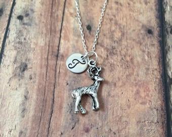 Deer initial necklace - deer jewelry, woodland necklace, forest necklace, woodland animal jewelry, nature jewelry, silver deer necklace