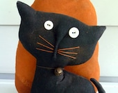 Primitive cat kitty pumpkin Halloween decoration