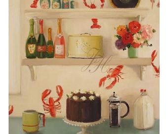 Still Life- The Devil's Food Cake- Art Print