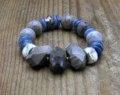 Chunky Jasper Boho Beaded Bracelet Blue Luxe Kyanite Stretch Bracelet Boutique Wearable Art