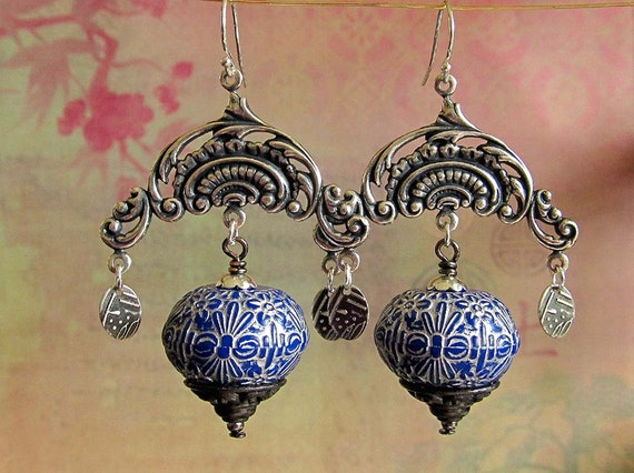 Romanesque bohemian earrings Unique silver chandelier earrings Boho bohemian jewelry Gypsy Moon Designs