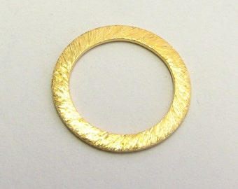 14mm Flat Circle Shaped Bali Vermeil Brushed Line Texture Loop Connector Eternity Rings Links (2 beads)