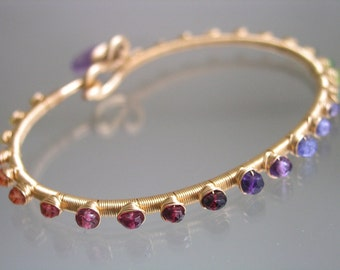 Rainbow Gold Filled Bangle, Gemstone Bracelet, Stackable, Wire Wrapped Tanzanite, Sapphire, Original Design, Signature, Made to Order