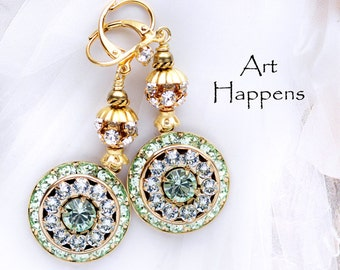 """Green and Azore Blue Swarovski Crystals in Round Art Deco Disks and Gold Plating, """"Spring's Breath"""""""