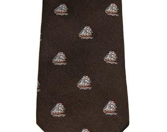 Vintage Brown Ships Necktie