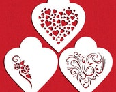 Contemporary Hearts Stencil Set for Cookies, Cakes & Cupcakes - Designer Stencils (C351) face painting