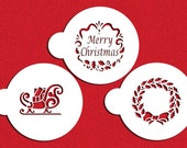 Holiday Christmas Greetings Stencil Set for Cookies, Cakes & Cupcakes - Designer Stencils (C385) Sled, Wreath, Merry Christmas