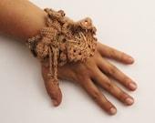 Handmade crochet bracelet beads glass vegan tan free form bow cuff