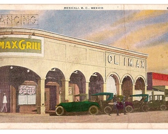 1927 Postcard, Climax Grill, Mexico