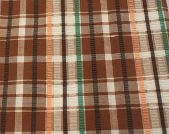 Vintage 1970s Plaid Plisse - 2 Yards -  Fabric Yardage / Vintage Yardage / Cotton Fabric / 1970s Fabric / 70s