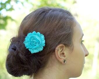 Light Turquoise Shabby Flower Hair Clip