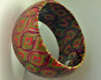 Pink, Green, and Gold Mod Harlequin Print Hand-Decoupaged Handmade Wood Bangle Bracelet